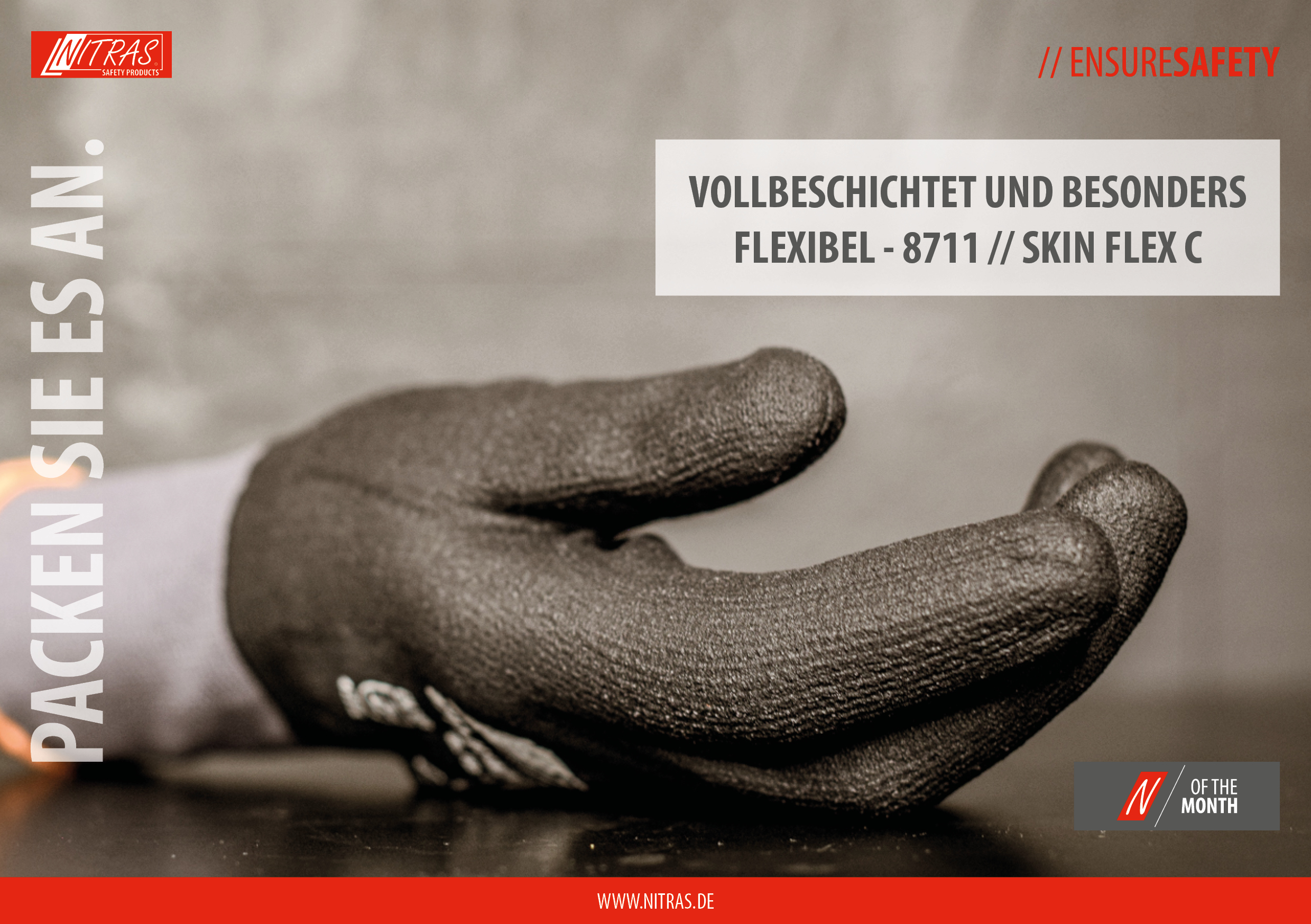 """Our """"N"""" of the month April 2021: Our fully coated and very flexible protective gloves 8711 // SKIN FLEX C"""