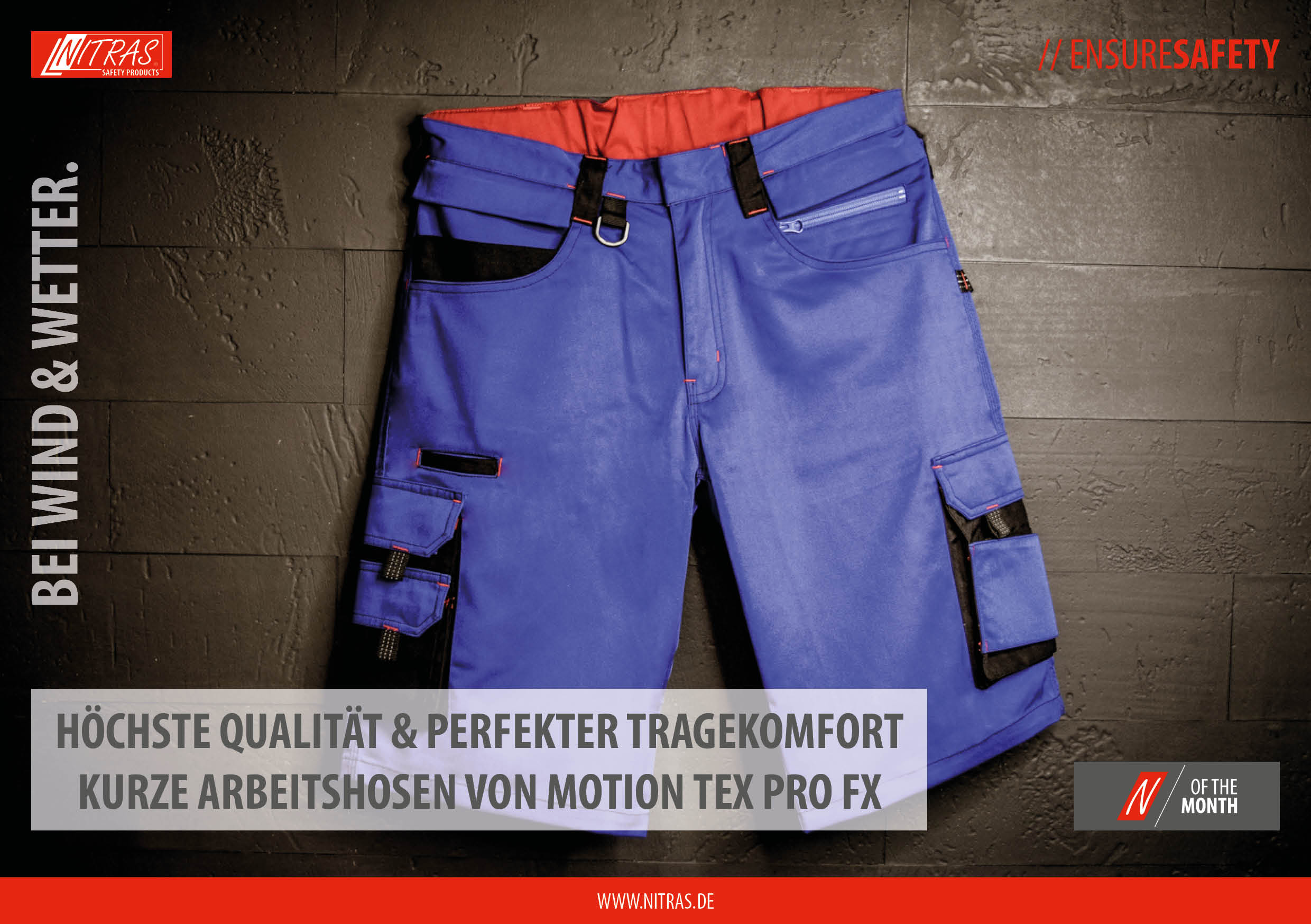 """Our """"N"""" of the month July: MOTION TEX PRO FX short work trousers - highest quality & perfect wearing comfort"""